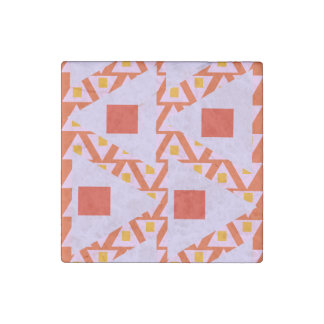 red orange light orchid mixed triangles stone magnet