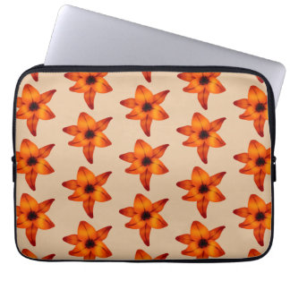 Red - Orange Lily Flowers on Tan Color Computer Sleeves