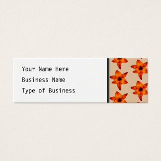 Red - Orange Lily Flowers, on Tan Color. Mini Business Card