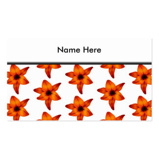 Red - Orange Lily Flowers on White Background. Business Card