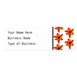 Red - Orange Lily Flowers on White Background. Mini Business Card