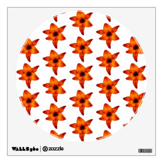 Red - Orange Lily Flowers on White Background Room Graphic