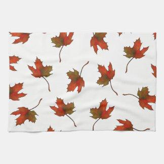 Red, Orange Maple Leaves, Nature Art, Autumn Towel
