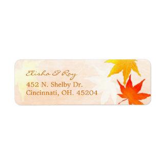 Red Orange Maple Leaves Wedding Label