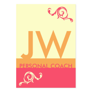 Red Orange Minimalistic Monogram Appointment Large Business Cards (Pack Of 100)