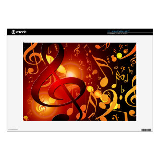 "Red, orange, music note pattern decals for 15"" laptops"