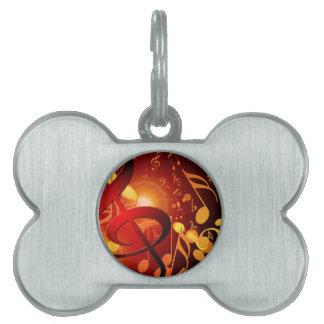 Red, orange, music note pattern pet tag
