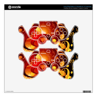 Red, orange, music note pattern PS3 controller skins
