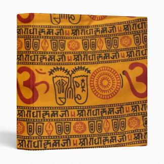 Red Orange Om Indian Religious Pattern Vinyl Binders