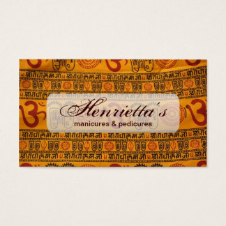 Red Orange Om Indian Religious Pattern Business Card