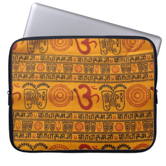 Red Orange Om Indian Religious Pattern Laptop Computer Sleeve