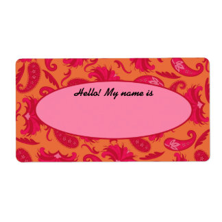 Red & Orange Paisley Name Tag Label Shipping Label