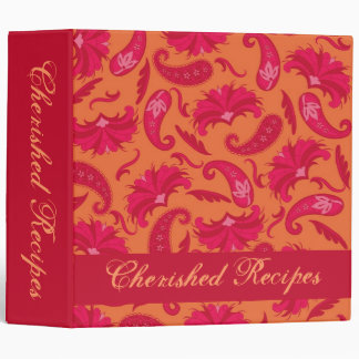 Red & Orange Parisian Paisley Recipe Memory Album Binder
