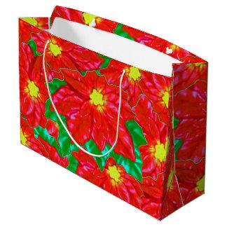 Red Orange Poinsettias Large Gift Bag