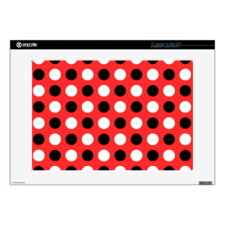 """Red Orange Polka Dots 15"""" Laptop Skins"""