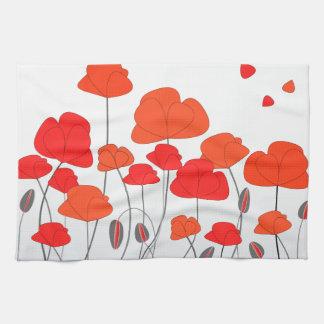 Red Orange Poppies Kitchen Towel