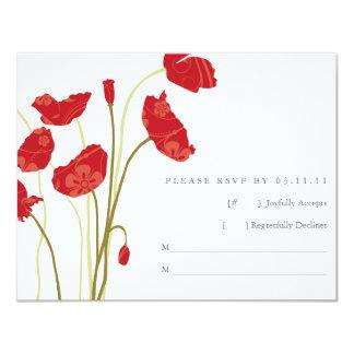 Red-Orange Poppies RSVP Card