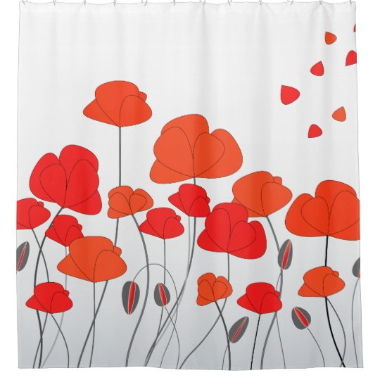 Red Orange Poppies Shower Curtain