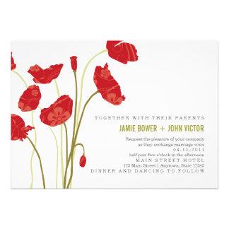 Red-Orange Poppies Wedding Invitation