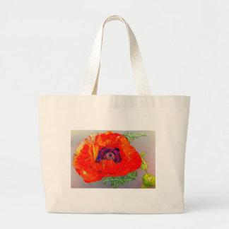 Red Orange Poppy Canvas Bags