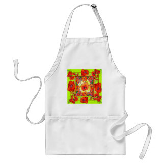 RED-ORANGE POPPY FLOWERS &  CHARTREUSE GREEN ADULT APRON