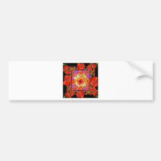 RED-ORANGE POPPY FLOWERS & PURPLE BLACK ART BUMPER STICKER