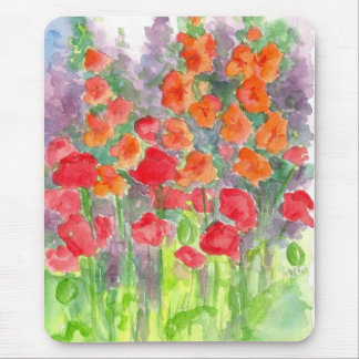 Red Orange Poppy Gladiola Flower Watercolor Garden Mouse Pad
