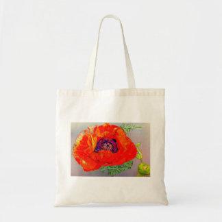 Red Orange Poppy Tote Bags