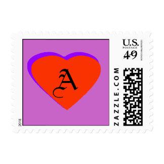 Red Orange - Purple Heart Letter A The MUSEUM Zazz Postage