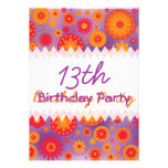 Red Orange & Purple Hippy Flower Birthday Custom Announcements