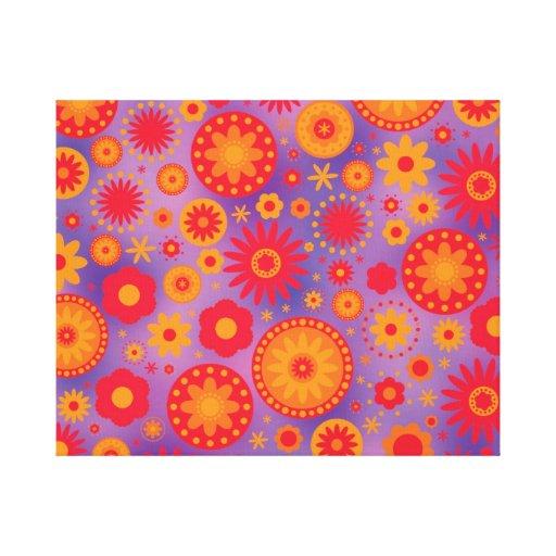 Red Orange & Purple Hippy Flower Pattern Stretched Canvas Prints