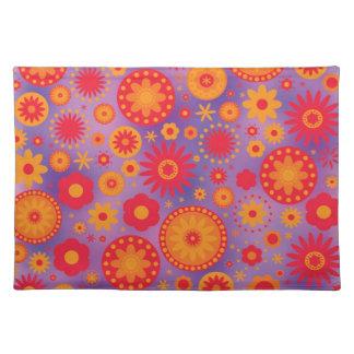 Red Orange & Purple Hippy Flower Pattern Cloth Placemat