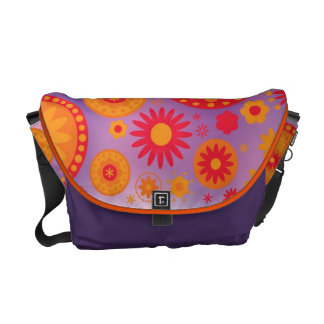 Red Orange & Purple Hippy Flower Pattern Messenger Bags