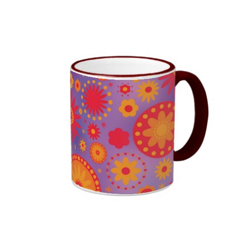 Red Orange & Purple Hippy Flower Pattern Mug