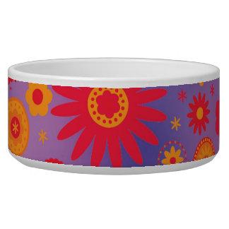 Red Orange & Purple Hippy Flower Pattern Dog Food Bowl