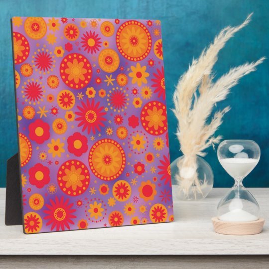 Red Orange & Purple Hippy Flower Pattern Plaque