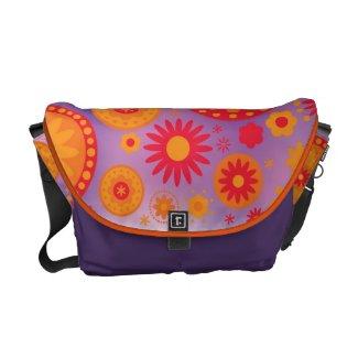 Red Orange & Purple Hippy Flower Pattern
