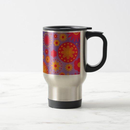 Red Orange & Purple Hippy Flower Pattern Travel Mug