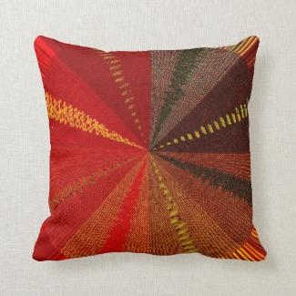 Red Orange Spiral Vortex Outdoor Pillow