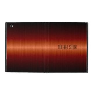 Red Orange Stainless Steel Metal iPad Folio Cases
