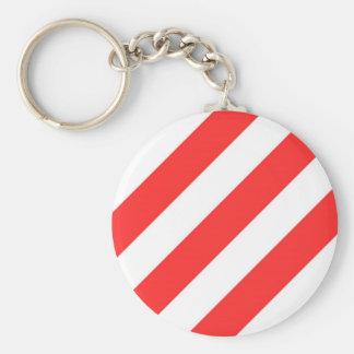 Red Orange Stripes Basic Round Button Keychain