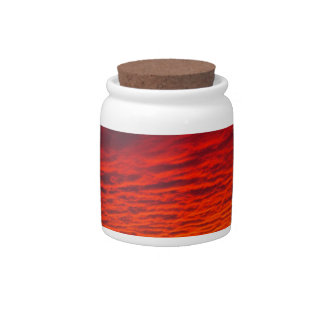 Red Orange Sunset Clouds Candy Jar