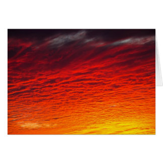 Red Orange Sunset Clouds Card