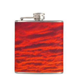 Red Orange Sunset Clouds Flask