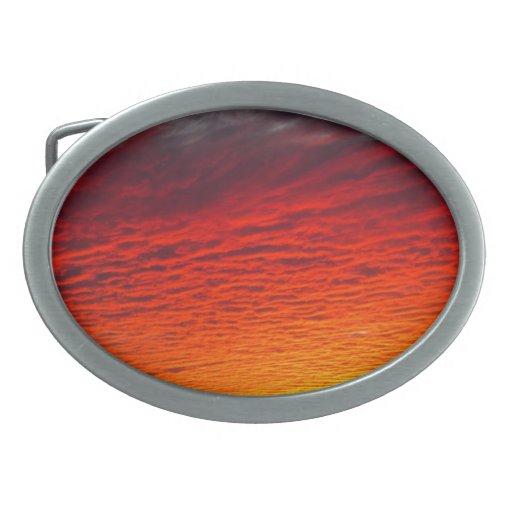 Red Orange Sunset Clouds Oval Belt Buckles