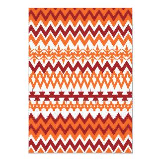 "Red Orange Tribal Pattern Aztec Chevron Zigzags 5"" X 7"" Invitation Card"
