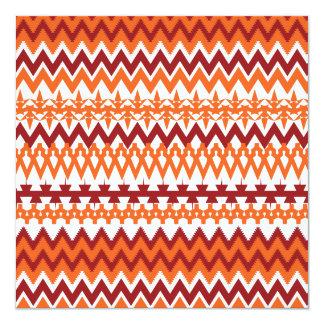 "Red Orange Tribal Pattern Aztec Chevron Zigzags 5.25"" Square Invitation Card"