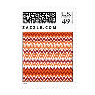 Red Orange Tribal Pattern Aztec Chevron Zigzags Postage Stamps