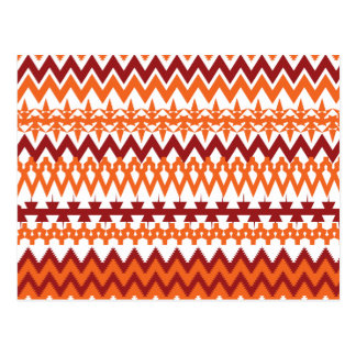 Red Orange Tribal Pattern Aztec Chevron Zigzags Postcard
