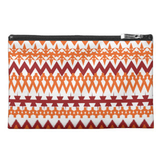 Red Orange Tribal Pattern Aztec Chevron Zigzags Travel Accessory Bag